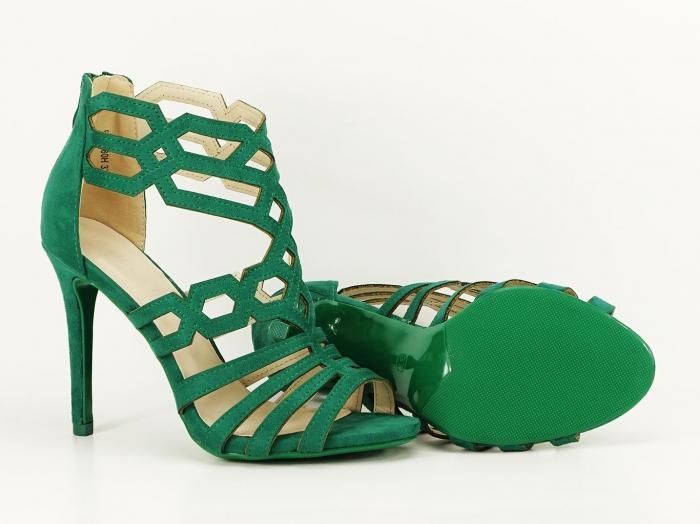Sandale dama verzi cu toc inalt Serena 3
