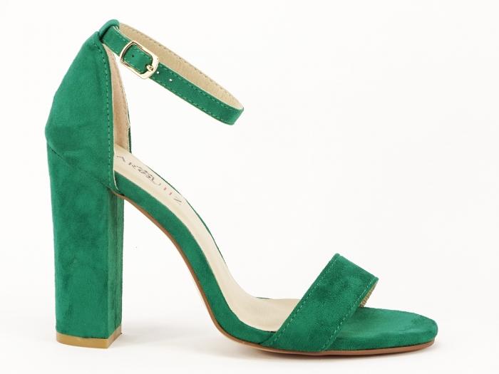 Sandale dama verzi cu toc gros si bareta Mathilde 0