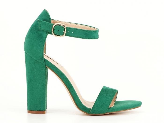 Sandale dama verzi cu toc inalt, gros Patricia 0