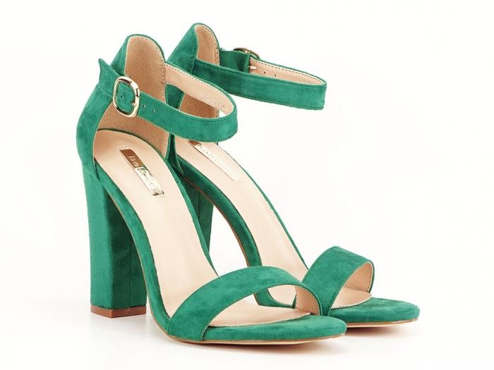 Sandale dama verzi cu toc inalt, gros Patricia 2