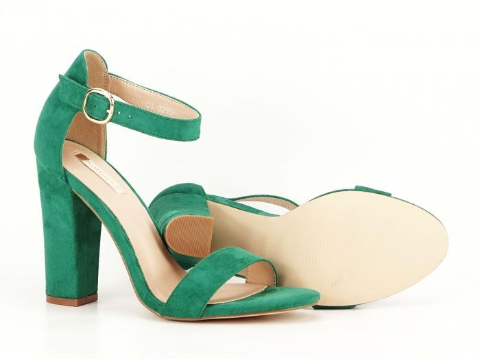 Sandale dama verzi cu toc inalt, gros Patricia 3