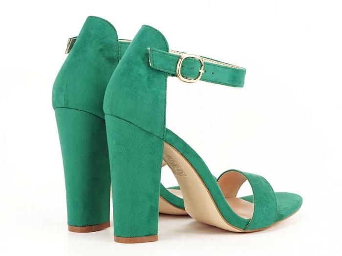 Sandale dama verzi cu toc inalt, gros Patricia 7