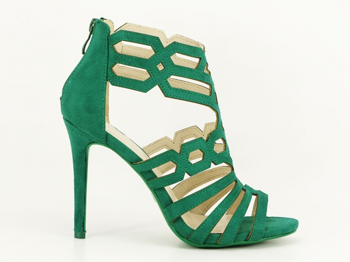 Sandale dama verzi cu toc inalt Serena 1