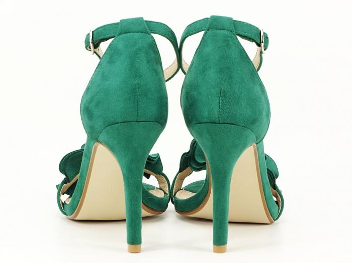 Sandale verzi dama elegante cu toc subtire Flowers 4