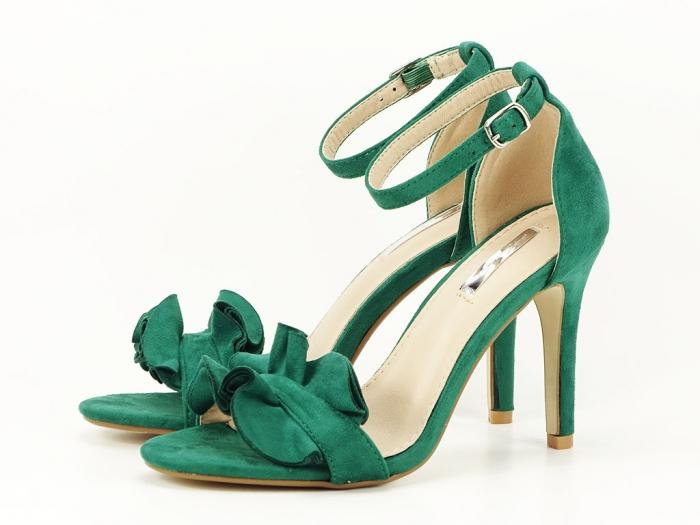Sandale verzi dama elegante cu toc subtire Flowers 5