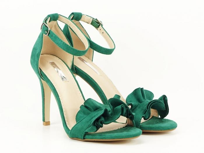 Sandale verzi dama elegante cu toc subtire Flowers 1