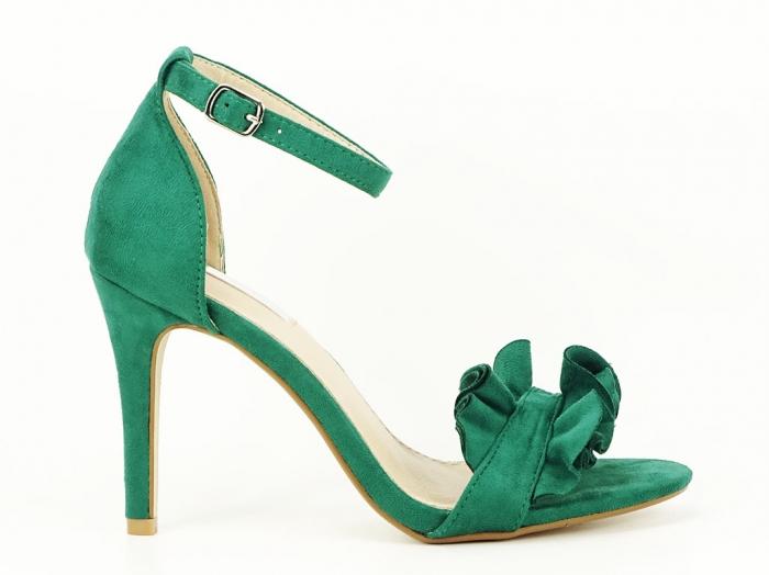 Sandale verzi dama elegante cu toc subtire Flowers 0