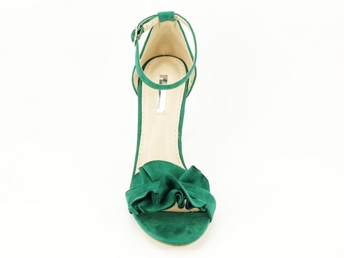 Sandale verzi dama elegante cu toc subtire Flowers 2