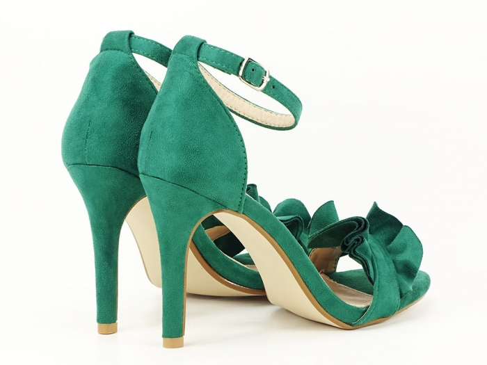 Sandale verzi dama elegante cu toc subtire Flowers 6