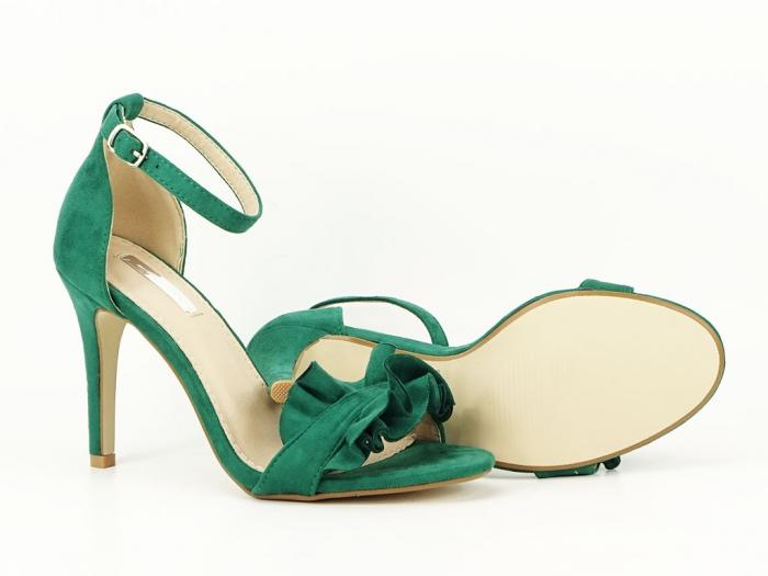 Sandale verzi dama elegante cu toc subtire Flowers 7