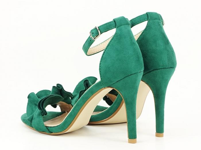 Sandale verzi dama elegante cu toc subtire Flowers 3