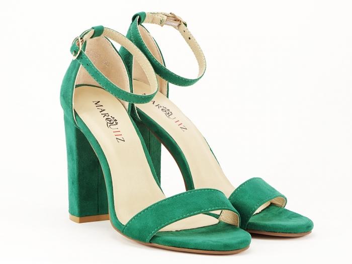 Sandale dama verzi cu toc gros si bareta Mathilde 4