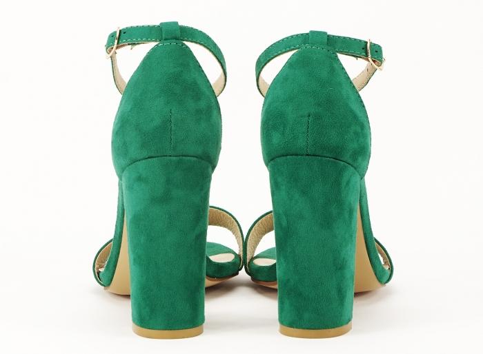 Sandale dama verzi cu toc gros si bareta Mathilde 5