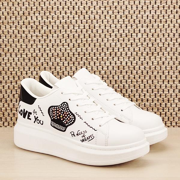 Sneakers alb cu brosa Mina [2]
