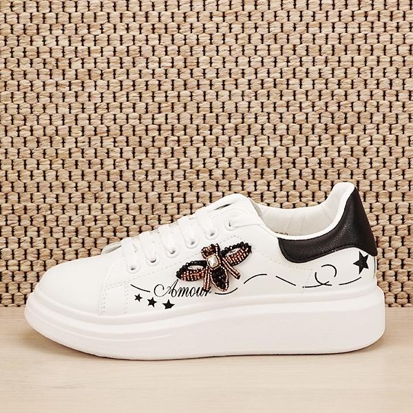 Sneakers alb cu brosa Riana [0]