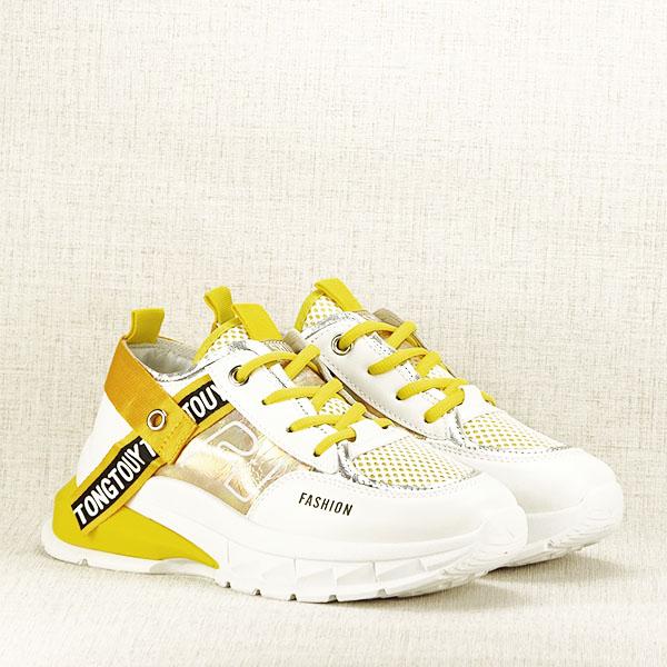 Sneakers alb cu galben Mara [2]