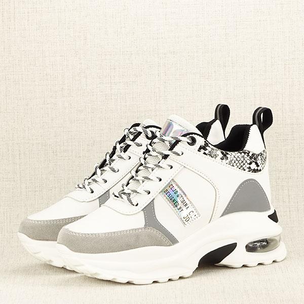 Sneakers alb cu gri High Top Marta 2