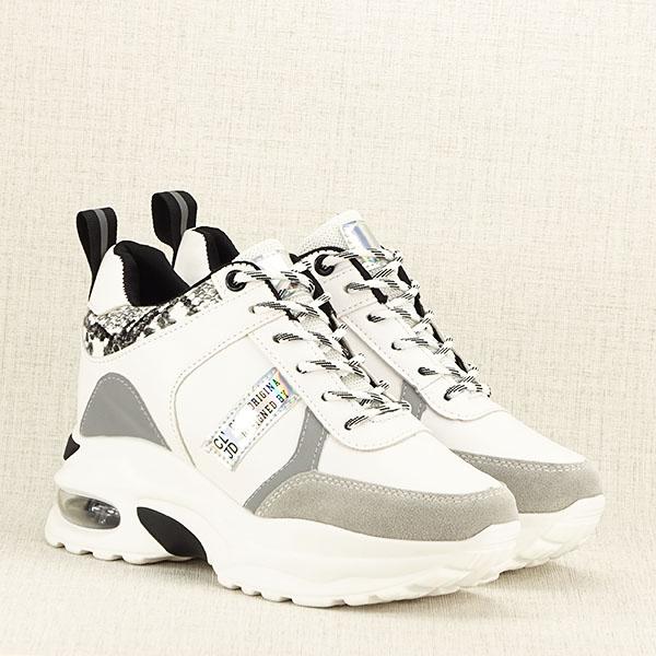 Sneakers alb cu gri High Top Marta 3