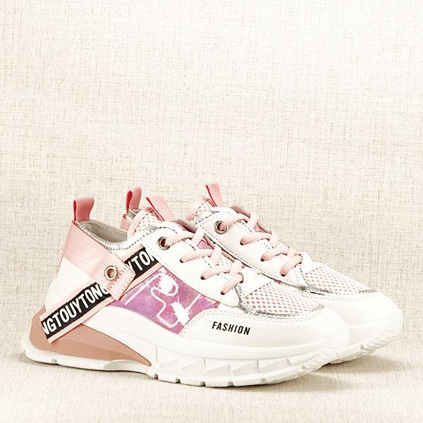 Sneakers alb cu roz Mara [2]