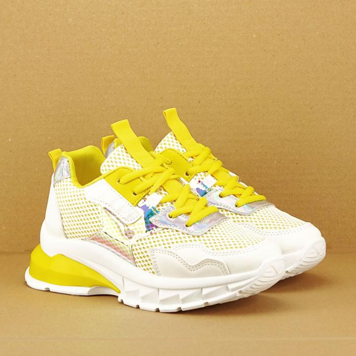 Sneakers albi cu galben Taylor 2