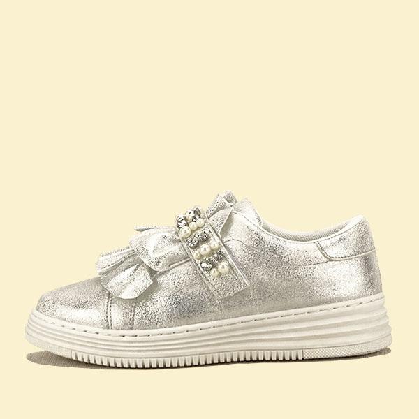 Sneakers argintiu cu perle Gloria 0