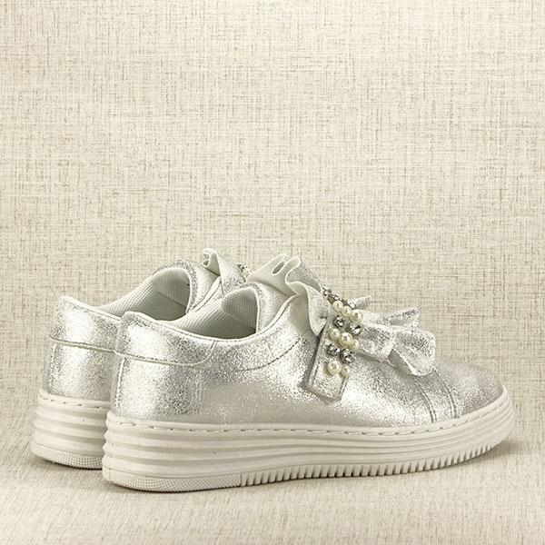 Sneakers argintiu cu perle Gloria 5