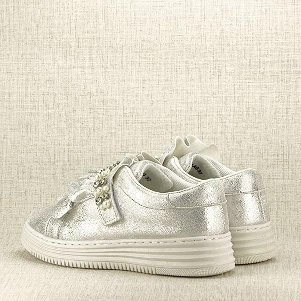 Sneakers argintiu cu perle Gloria 4