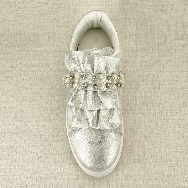 Sneakers argintiu cu perle Gloria 1