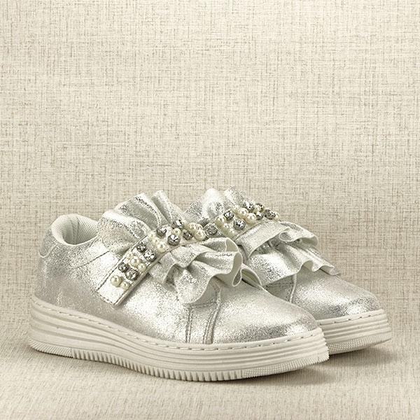 Sneakers argintiu cu perle Gloria 3