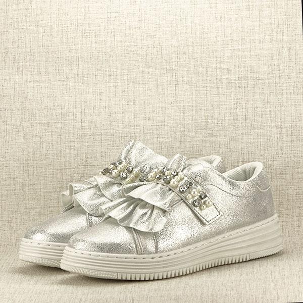 Sneakers argintiu cu perle Gloria 2