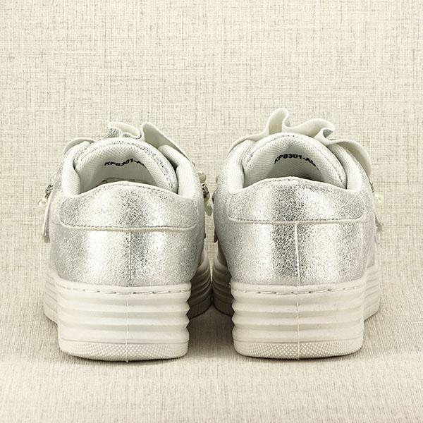 Sneakers argintiu cu perle Gloria 6