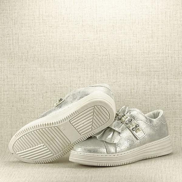 Sneakers argintiu cu perle Gloria 7