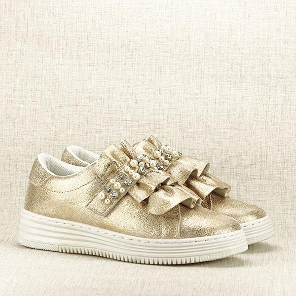 Sneakers auriu cu perle Gloria [3]