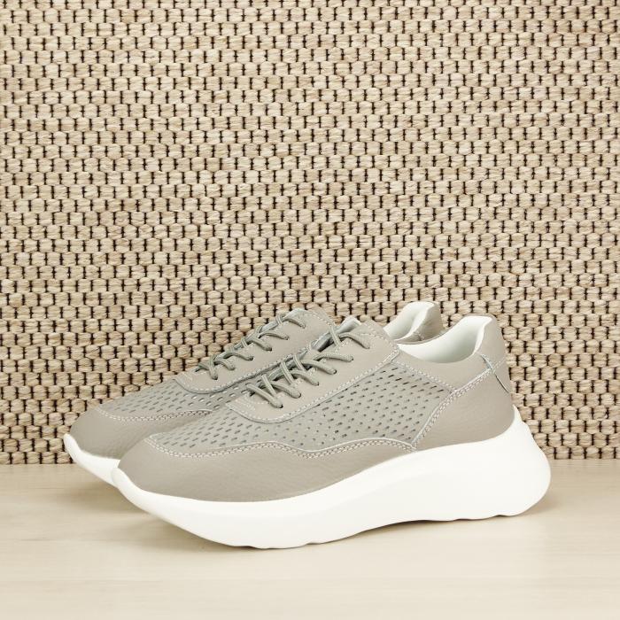 Sneakers piele naturala Aniela gri [0]