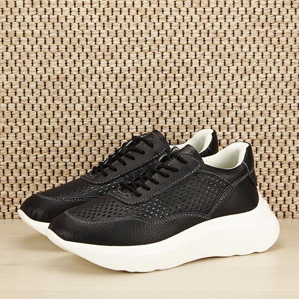 Sneakers piele naturala Aniela negru [0]