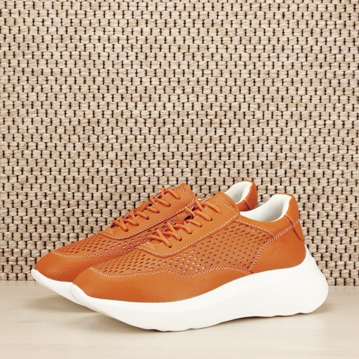 Sneakers piele naturala Aniela portocaliu [0]
