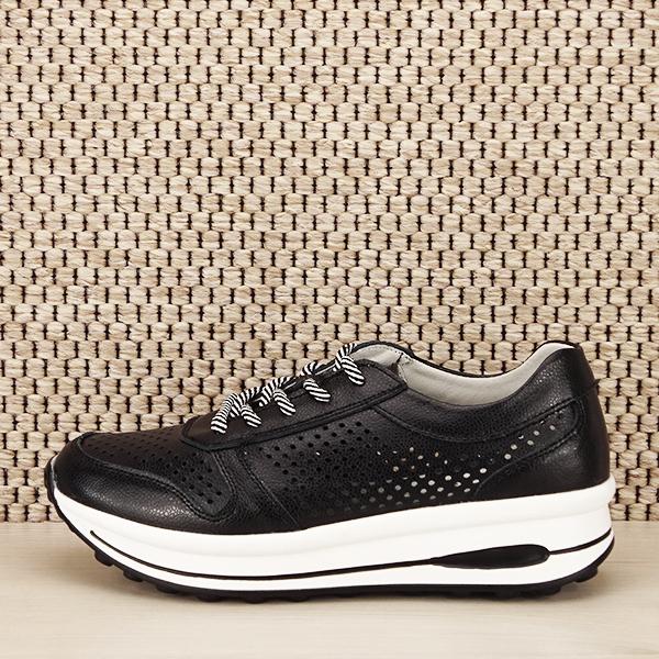 Sneakers piele naturala negru, perforat, Corina [0]
