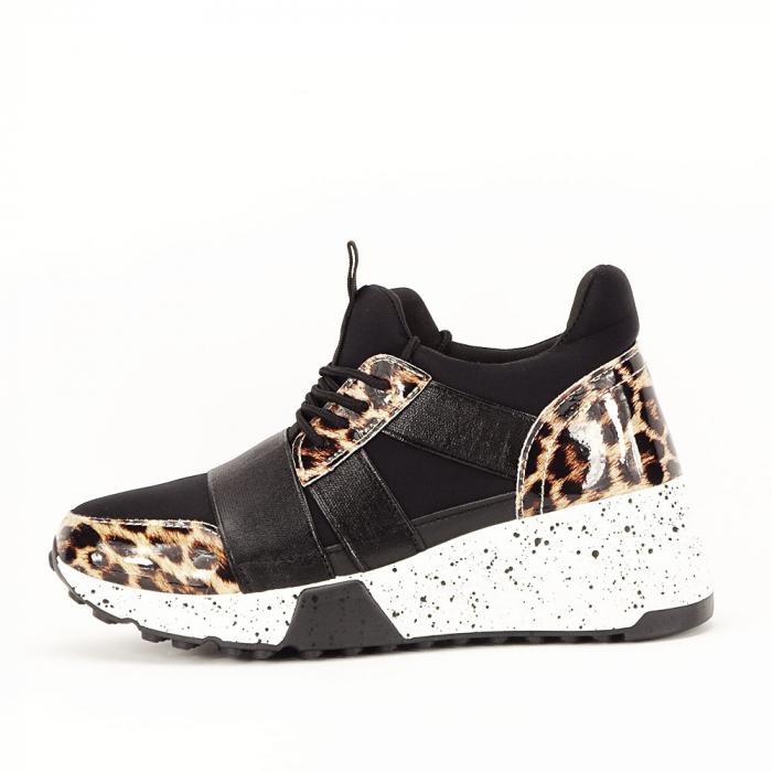 Sneakers negri cu talpa alba Limana 0
