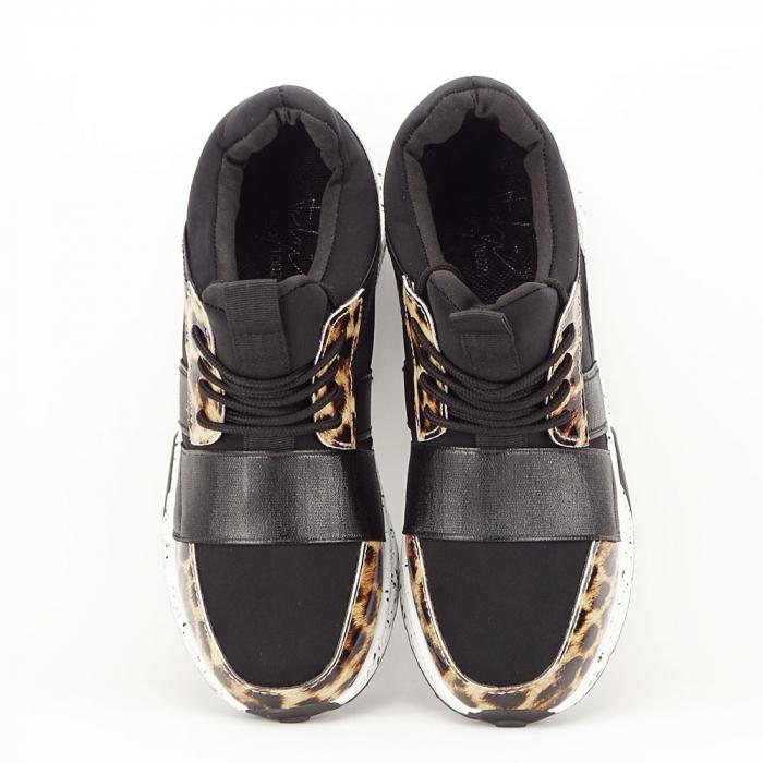 Sneakers negri cu talpa alba Limana 3