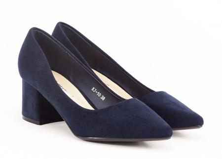 Pantofi bleumarin cu toc gros Boema1