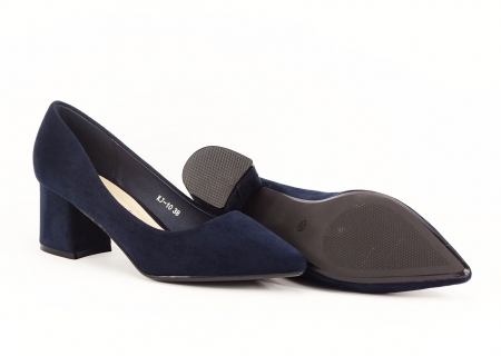 Pantofi bleumarin cu toc gros Boema3