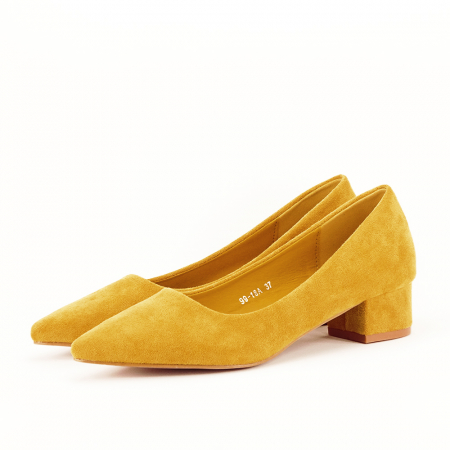 Pantofi galbeni cu toc mic Elisa [1]