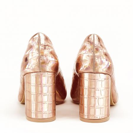 Pantofi champagne cu imprimeu reptila Fancy3