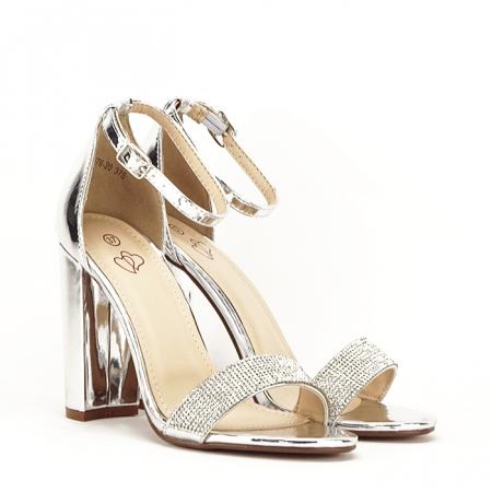 Sandale argintii cu toc gros Diana [1]