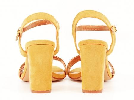 Sandale dama galbene cu toc gros Iris [7]