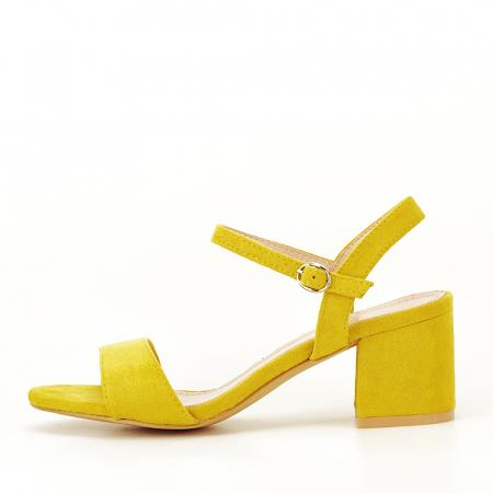 Sandale galben mustar cu toc mic Vanesa [0]