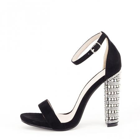 Sandale negre cu pietricele pe toc Cleopatra [0]