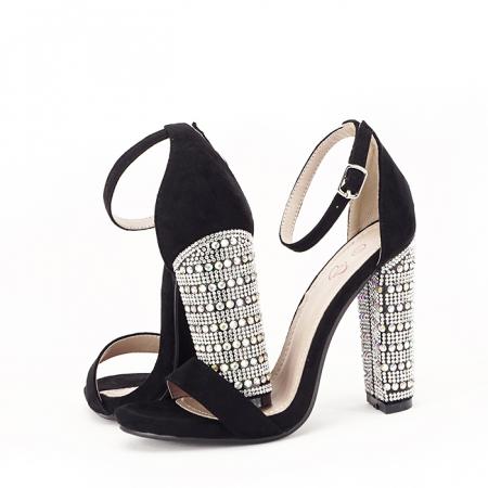 Sandale negre cu pietricele pe toc Cleopatra [7]
