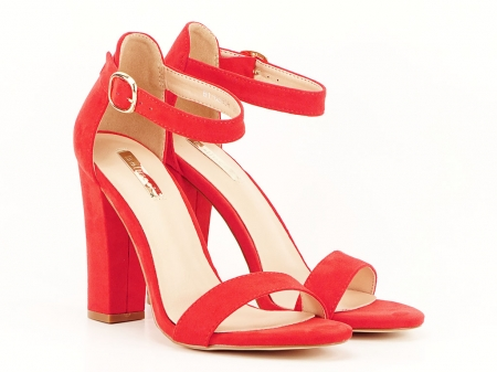 Sandale dama rosii cu toc gros si bareta Patricia [1]