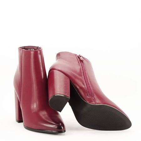 Botine elegante rosu inchis Mira7